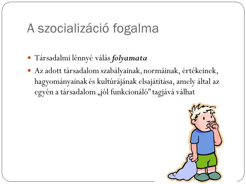 A szocializáció fogalma Társadalmi lénnyé válás folyamata Az adott társadalom szabályainak, normáinak, értékeinek, hagyományainak és kultúrájának elsa