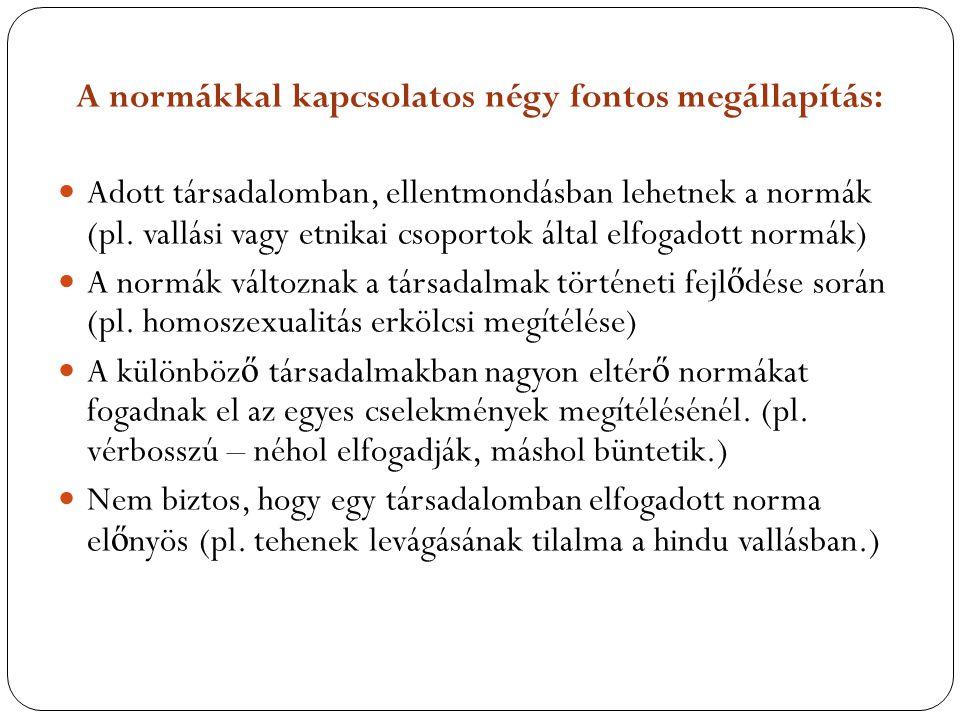 A normákkal kapcsolatos négy fontos megállapítás: Adott társadalomban, ellentmondásban lehetnek a normák (pl. vallási vagy etnikai csoportok által elf