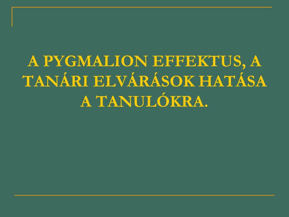 A PYGMALION EFFEKTUS, A TANÁRI ELVÁRÁSOK HATÁSA A TANULÓKRA.