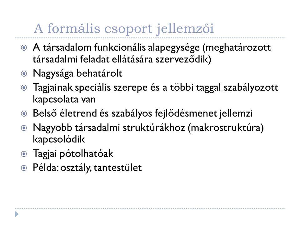A formális csoport jellemzői  A társadalom funkcionális alapegysége (meghatározott társadalmi feladat ellátására szerveződik)  Nagysága behatárolt 