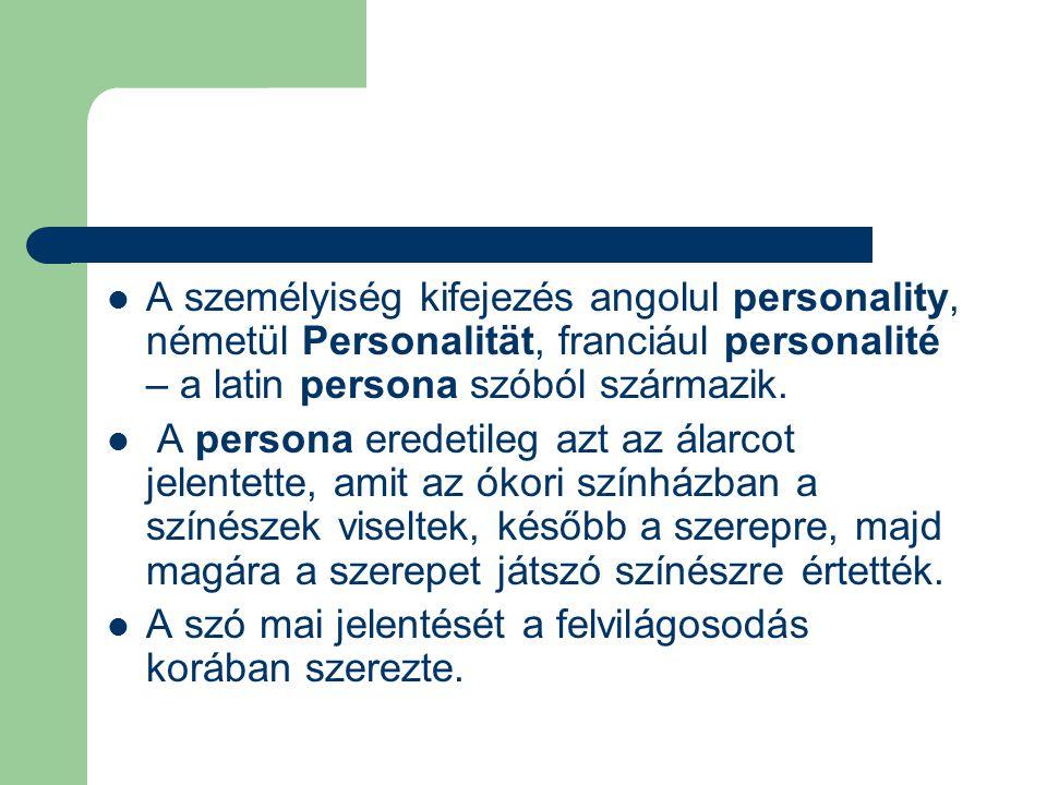 A személyiség kifejezés angolul personality, németül Personalität, franciául personalité – a latin persona szóból származik. A persona eredetileg azt