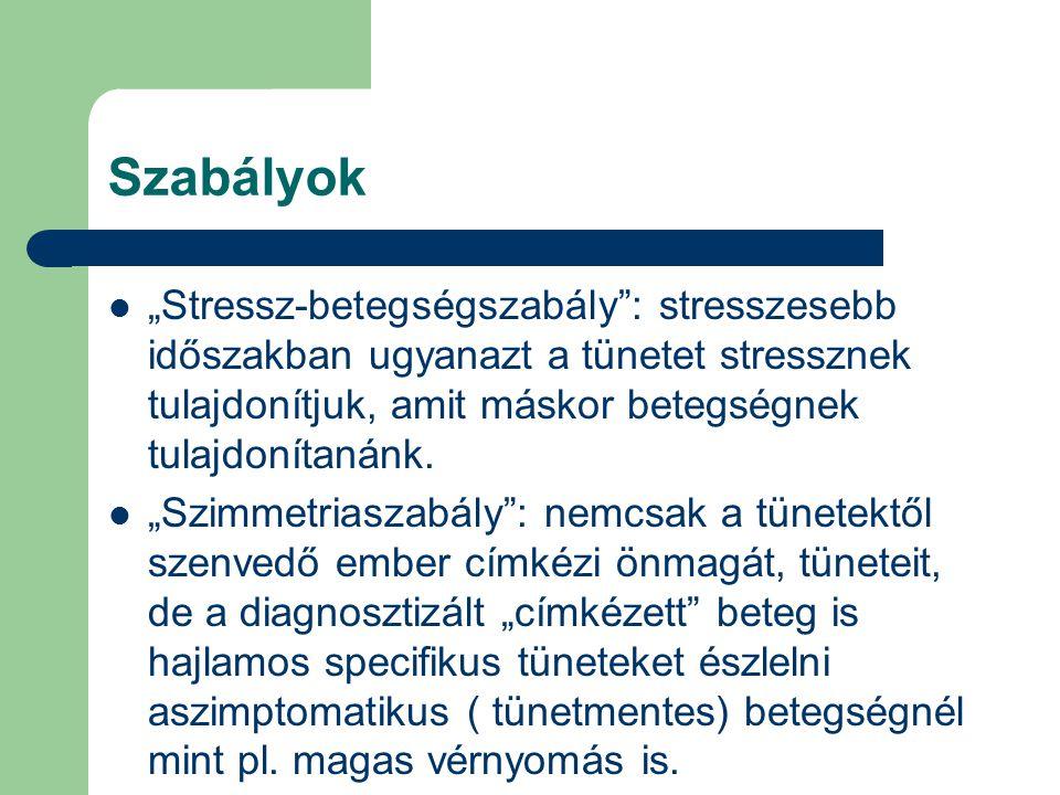 """Szabályok """"Stressz-betegségszabály : stresszesebb időszakban ugyanazt a tünetet stressznek tulajdonítjuk, amit máskor betegségnek tulajdonítanánk."""