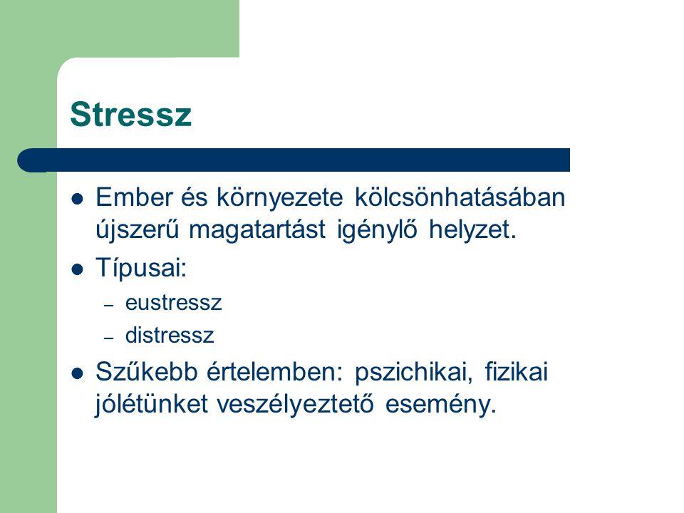 Stressz Ember és környezete kölcsönhatásában újszerű magatartást igénylő helyzet. Típusai: – eustressz – distressz Szűkebb értelemben: pszichikai, fiz