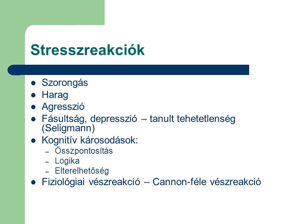 Stresszreakciók Szorongás Harag Agresszió Fásultság, depresszió – tanult tehetetlenség (Seligmann) Kognitív károsodások: – Összpontosítás – Logika – E