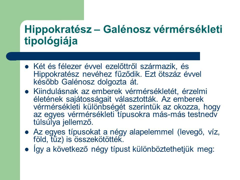 Hippokratész – Galénosz vérmérsékleti tipológiája Két és félezer évvel ezelőttről származik, és Hippokratész nevéhez fűződik. Ezt ötszáz évvel később