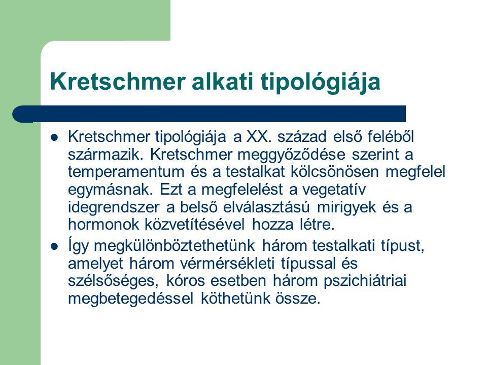 Kretschmer alkati tipológiája Kretschmer tipológiája a XX. század első feléből származik. Kretschmer meggyőződése szerint a temperamentum és a testalk