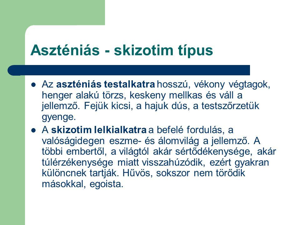 Aszténiás - skizotim típus Az aszténiás testalkatra hosszú, vékony végtagok, henger alakú törzs, keskeny mellkas és váll a jellemző.