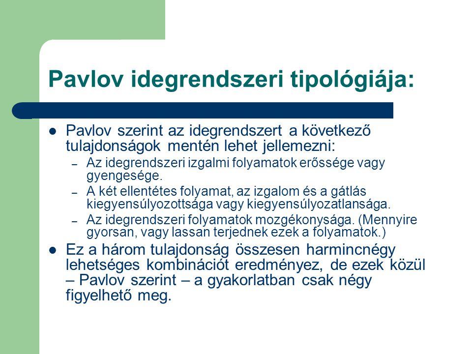 Pavlov idegrendszeri tipológiája: Pavlov szerint az idegrendszert a következő tulajdonságok mentén lehet jellemezni: – Az idegrendszeri izgalmi folyamatok erőssége vagy gyengesége.