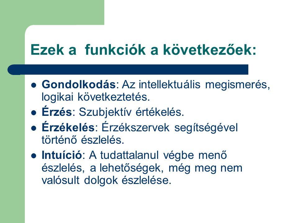 Ezek a funkciók a következőek: Gondolkodás: Az intellektuális megismerés, logikai következtetés.