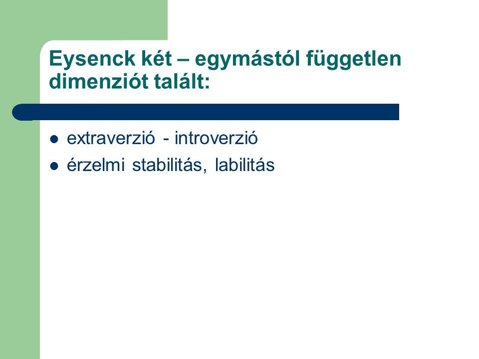 Eysenck két – egymástól független dimenziót talált: extraverzió - introverzió érzelmi stabilitás, labilitás