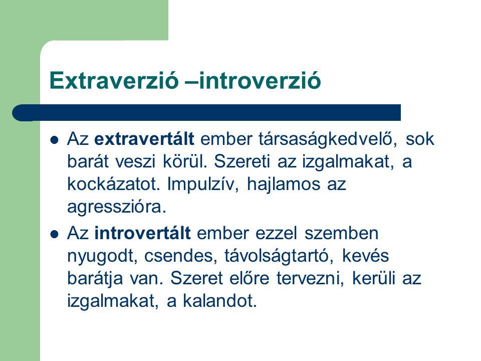 Extraverzió –introverzió Az extravertált ember társaságkedvelő, sok barát veszi körül. Szereti az izgalmakat, a kockázatot. Impulzív, hajlamos az agre