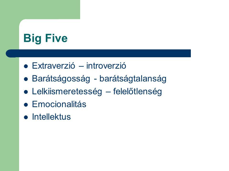 Big Five Extraverzió – introverzió Barátságosság - barátságtalanság Lelkiismeretesség – felelőtlenség Emocionalitás Intellektus