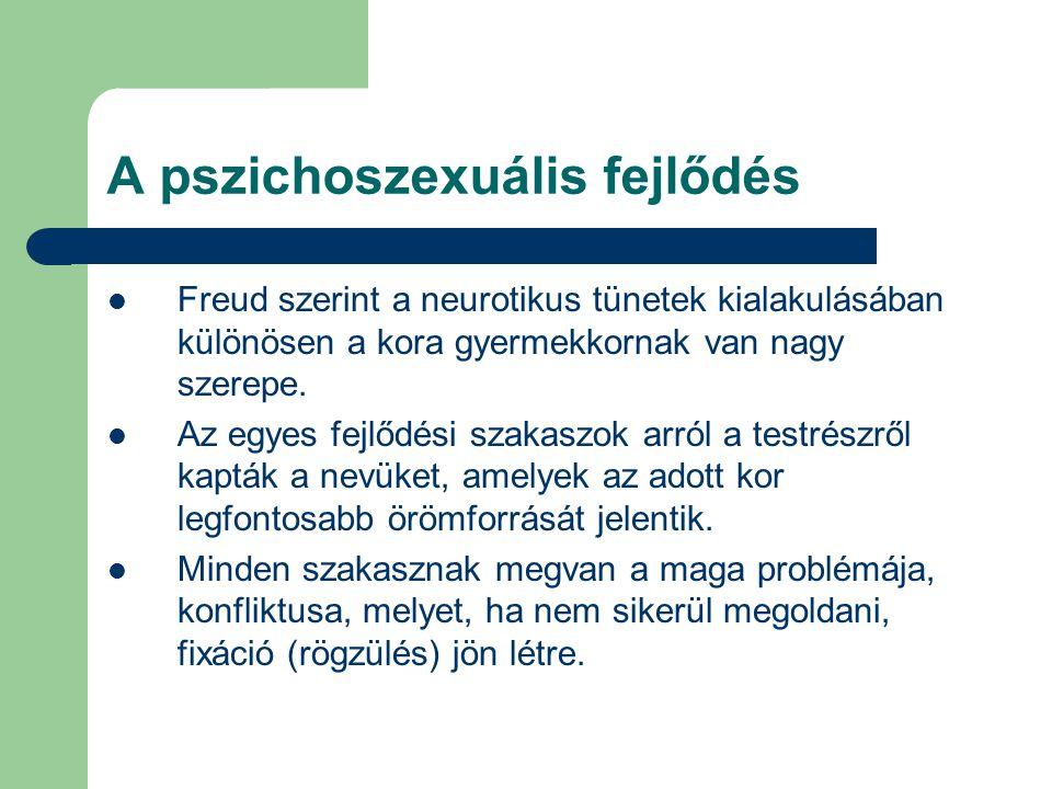 A pszichoszexuális fejlődés Freud szerint a neurotikus tünetek kialakulásában különösen a kora gyermekkornak van nagy szerepe. Az egyes fejlődési szak