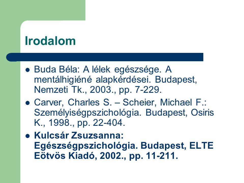 Irodalom Buda Béla: A lélek egészsége. A mentálhigiéné alapkérdései. Budapest, Nemzeti Tk., 2003., pp. 7-229. Carver, Charles S. – Scheier, Michael F.