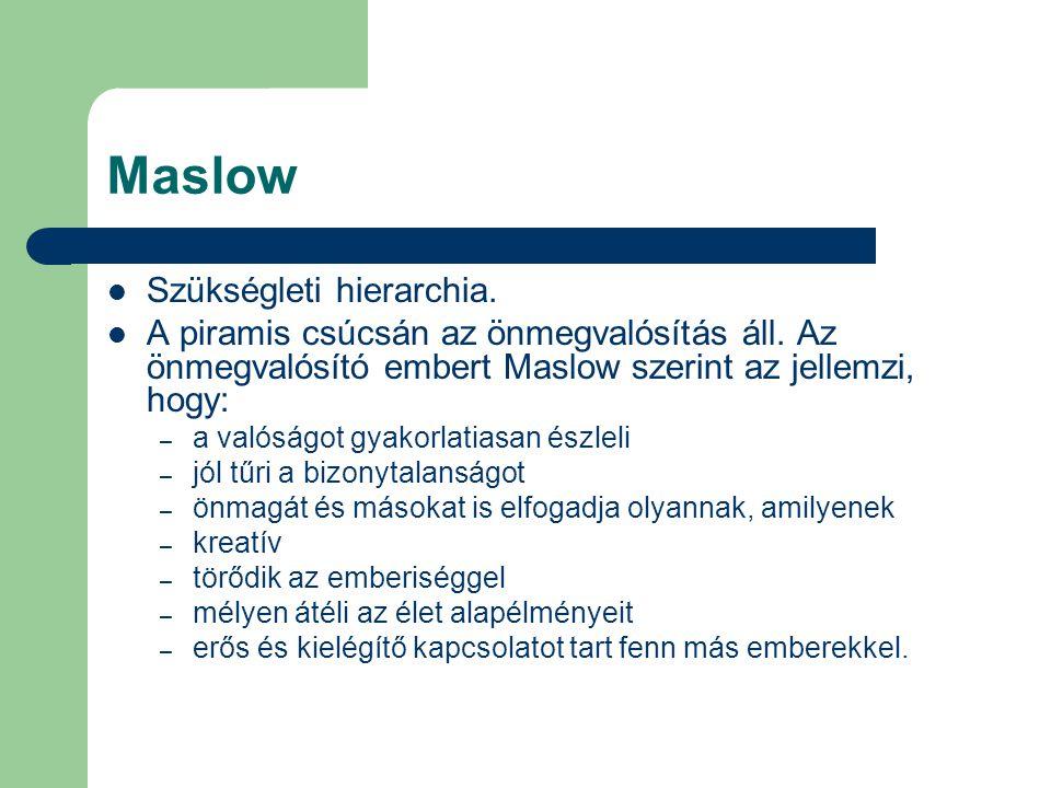 Maslow Szükségleti hierarchia. A piramis csúcsán az önmegvalósítás áll. Az önmegvalósító embert Maslow szerint az jellemzi, hogy: – a valóságot gyakor