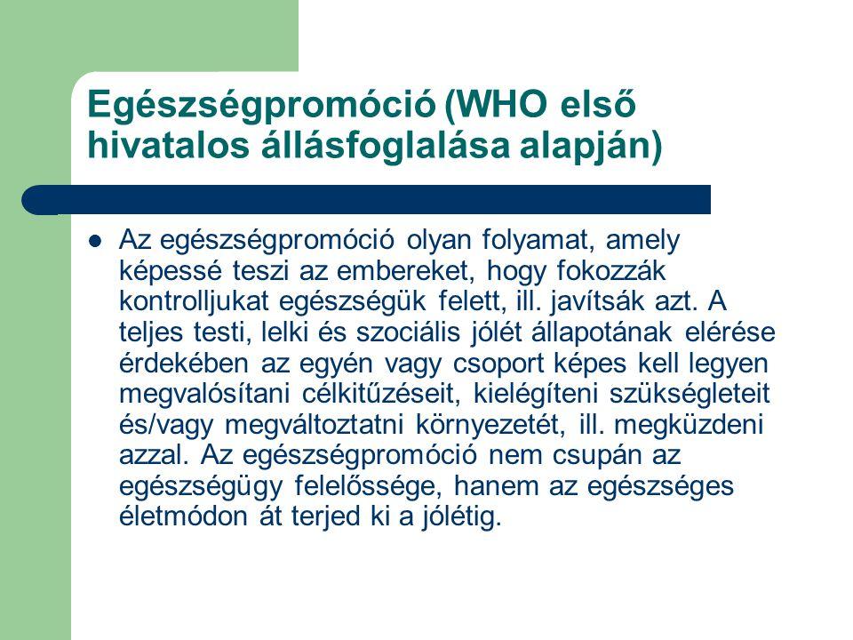 Egészségpromóció (WHO első hivatalos állásfoglalása alapján) Az egészségpromóció olyan folyamat, amely képessé teszi az embereket, hogy fokozzák kontrolljukat egészségük felett, ill.