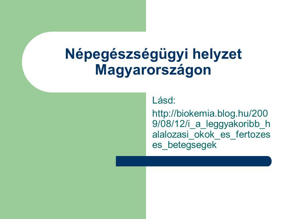 Népegészségügyi helyzet Magyarországon Lásd: http://biokemia.blog.hu/200 9/08/12/i_a_leggyakoribb_h alalozasi_okok_es_fertozes es_betegsegek