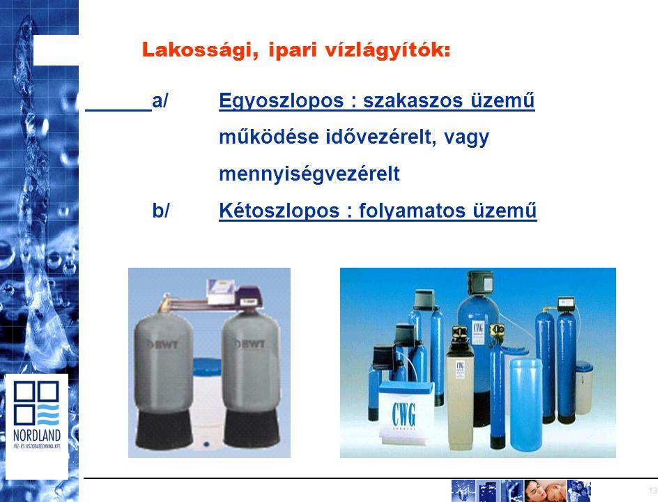 13 Lakossági, ipari vízlágyítók: a/Egyoszlopos : szakaszos üzemű működése idővezérelt, vagy mennyiségvezérelt b/Kétoszlopos : folyamatos üzemű