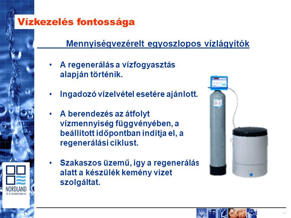14 Vízkezelés fontossága Mennyiségvezérelt egyoszlopos vízlágyítók A regenerálás a vízfogyasztás alapján történik.
