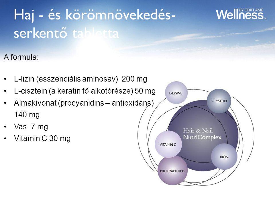 Haj - és körömnövekedés- serkentő tabletta A formula: L-lizin (esszenciális aminosav) 200 mg L-cisztein (a keratin fő alkotórésze) 50 mg Almakivonat (procyanidins – antioxidáns) 140 mg Vas 7 mg Vitamin C 30 mg