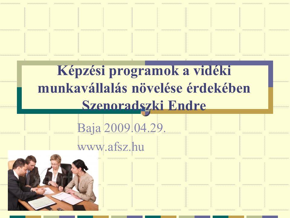 Képzési programok a vidéki munkavállalás növelése érdekében Szenoradszki Endre Baja 2009.04.29. www.afsz.hu