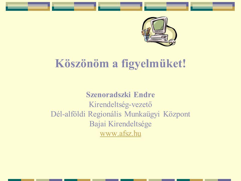 Köszönöm a figyelmüket! Szenoradszki Endre Kirendeltség-vezető Dél-alföldi Regionális Munkaügyi Központ Bajai Kirendeltsége www.afsz.hu