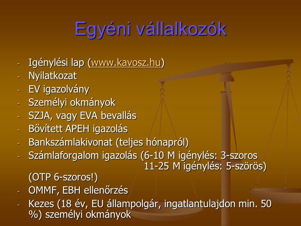 - Igénylési lap (www.kavosz.hu) www.kavosz.hu - Nyilatkozat - EV igazolvány - Személyi okmányok - SZJA, vagy EVA bevallás - Bővített APEH igazolás - Bankszámlakivonat (teljes hónapról) - Számlaforgalom igazolás (6-10 M igénylés: 3-szoros 11-25 M igénylés: 5-szörös) (OTP 6-szoros!) - OMMF, EBH ellenőrzés - Kezes (18 év, EU állampolgár, ingatlantulajdon min.