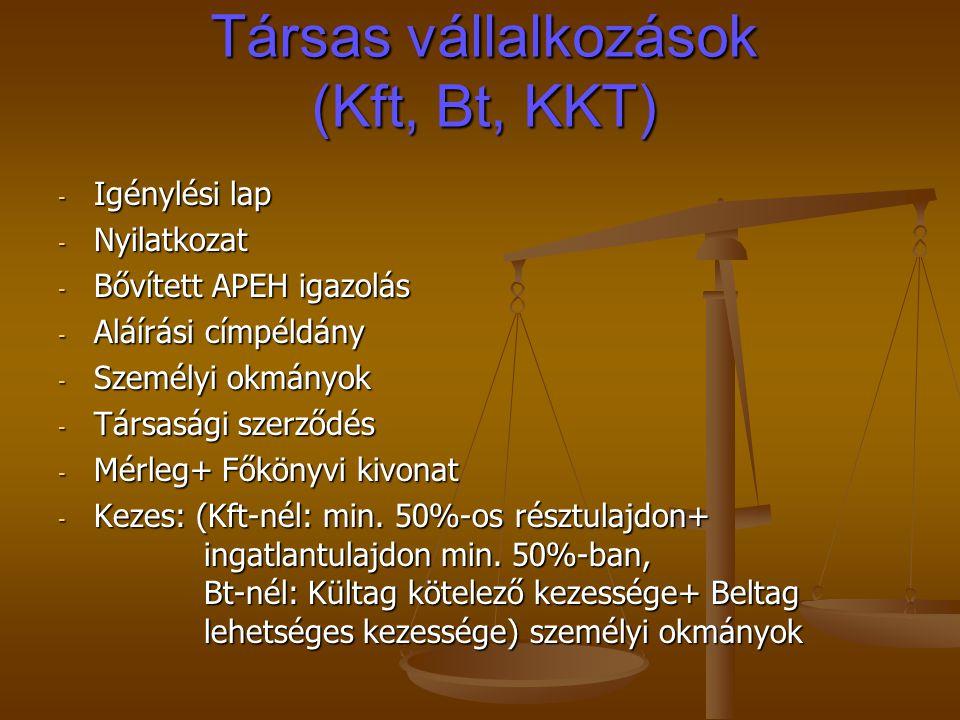 Társas vállalkozások (Kft, Bt, KKT) - Igénylési lap - Nyilatkozat - Bővített APEH igazolás - Aláírási címpéldány - Személyi okmányok - Társasági szerződés - Mérleg+ Főkönyvi kivonat - Kezes: (Kft-nél: min.