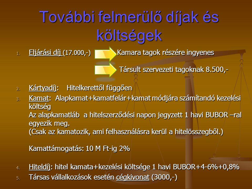 További felmerülő díjak és költségek 1. Eljárási díj (17.000,-) Kamara tagok részére ingyenes Társult szervezeti tagoknak 8.500,- 2. Kártyadíj: Hitelk