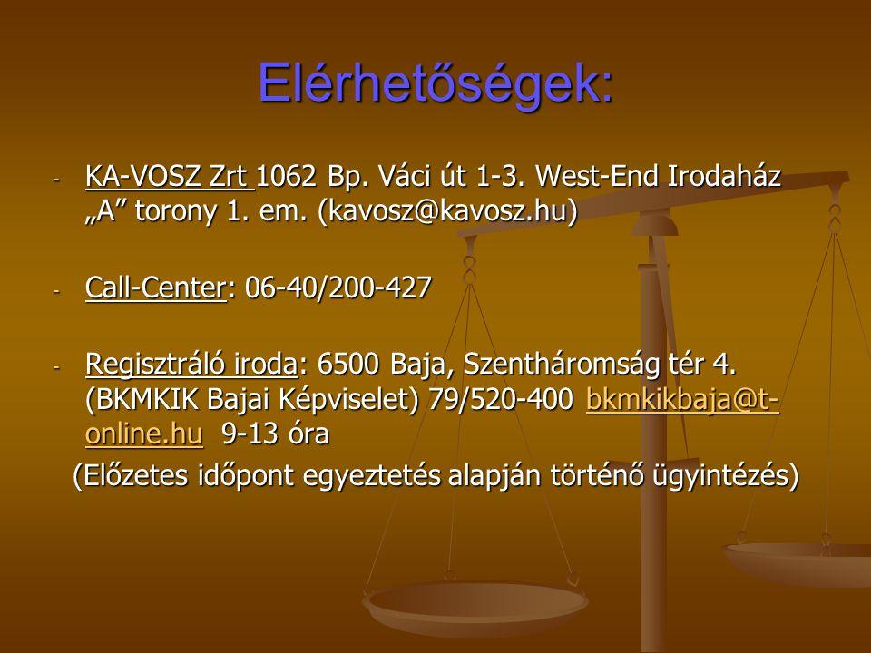 """Elérhetőségek: - KA-VOSZ Zrt 1062 Bp. Váci út 1-3. West-End Irodaház """"A"""" torony 1. em. (kavosz@kavosz.hu) - Call-Center: 06-40/200-427 - Regisztráló i"""