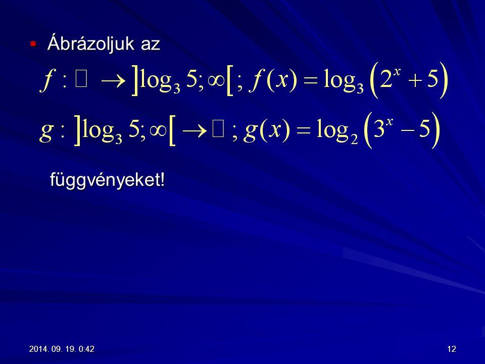  Ábrázoljuk az függvényeket! függvényeket! 122014. 09. 19. 0:442014. 09. 19. 0:442014. 09. 19. 0:442014. 09. 19. 0:44