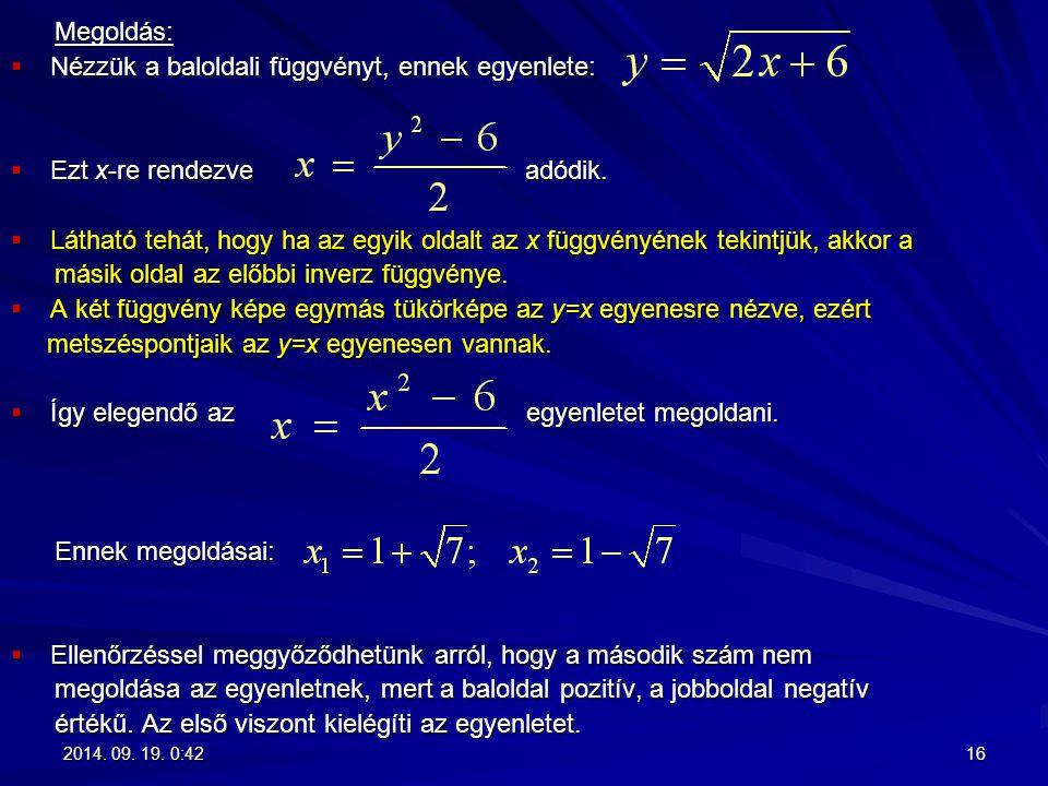 Megoldás: Megoldás:  Nézzük a baloldali függvényt, ennek egyenlete:  Ezt x-re rendezve adódik.  Látható tehát, hogy ha az egyik oldalt az x függvén
