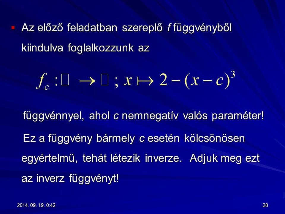  Az előző feladatban szereplő f függvényből kiindulva foglalkozzunk az függvénnyel, ahol c nemnegatív valós paraméter! függvénnyel, ahol c nemnegatív
