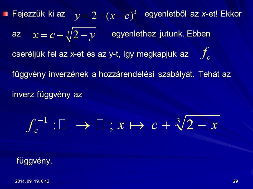 Fejezzük ki az egyenletből az x-et! Ekkor az egyenlethez jutunk. Ebben cseréljük fel az x-et és az y-t, így megkapjuk az függvény inverzének a hozzáre