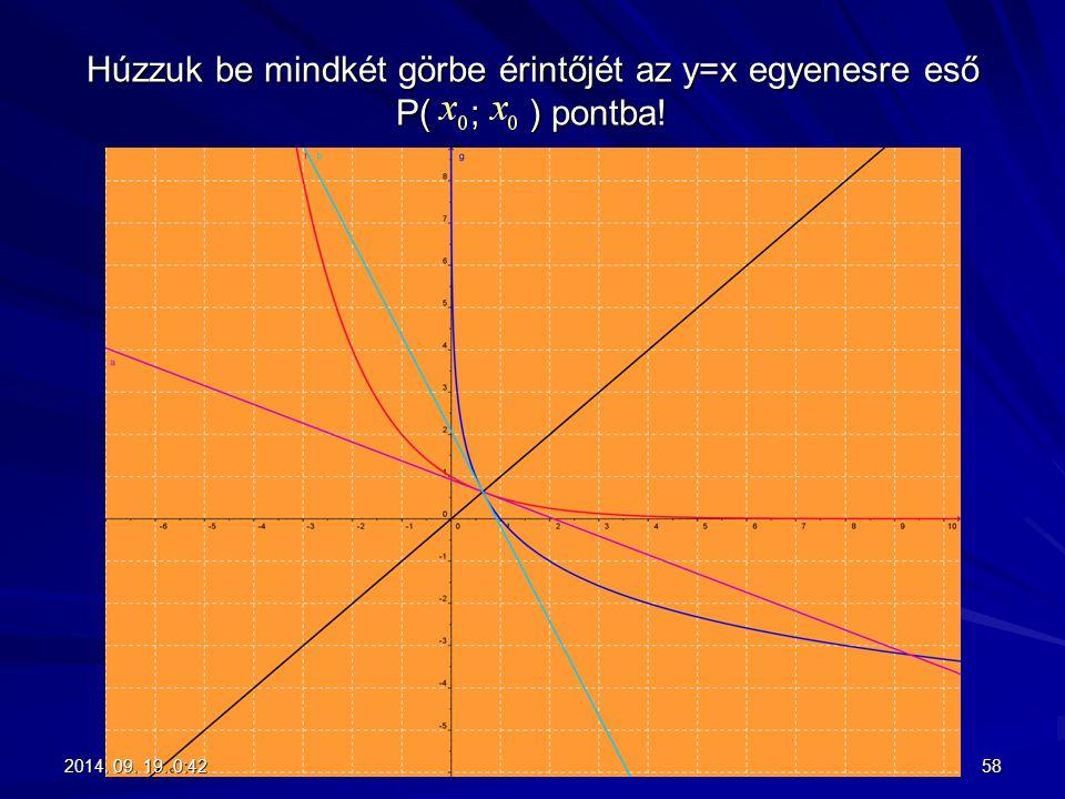 Húzzuk be mindkét görbe érintőjét az y=x egyenesre eső P( ; ) pontba! 582014. 09. 19. 0:442014. 09. 19. 0:442014. 09. 19. 0:442014. 09. 19. 0:44