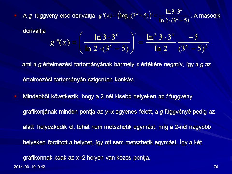  A g függvény első deriváltja. A második deriváltja ami a g értelmezési tartományának bármely x értékére negatív, így a g az értelmezési tartományán