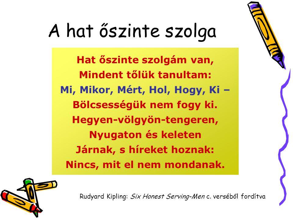 A hat őszinte szolga Hat őszinte szolgám van, Mindent tőlük tanultam: Mi, Mikor, Mért, Hol, Hogy, Ki – Bölcsességük nem fogy ki.