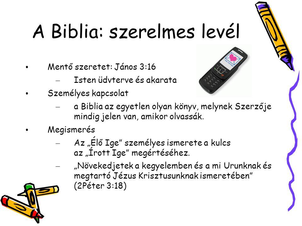 A Biblia: szerelmes levél Mentő szeretet: János 3:16 – Isten üdvterve és akarata Személyes kapcsolat – a Biblia az egyetlen olyan könyv, melynek Szerzője mindig jelen van, amikor olvassák.