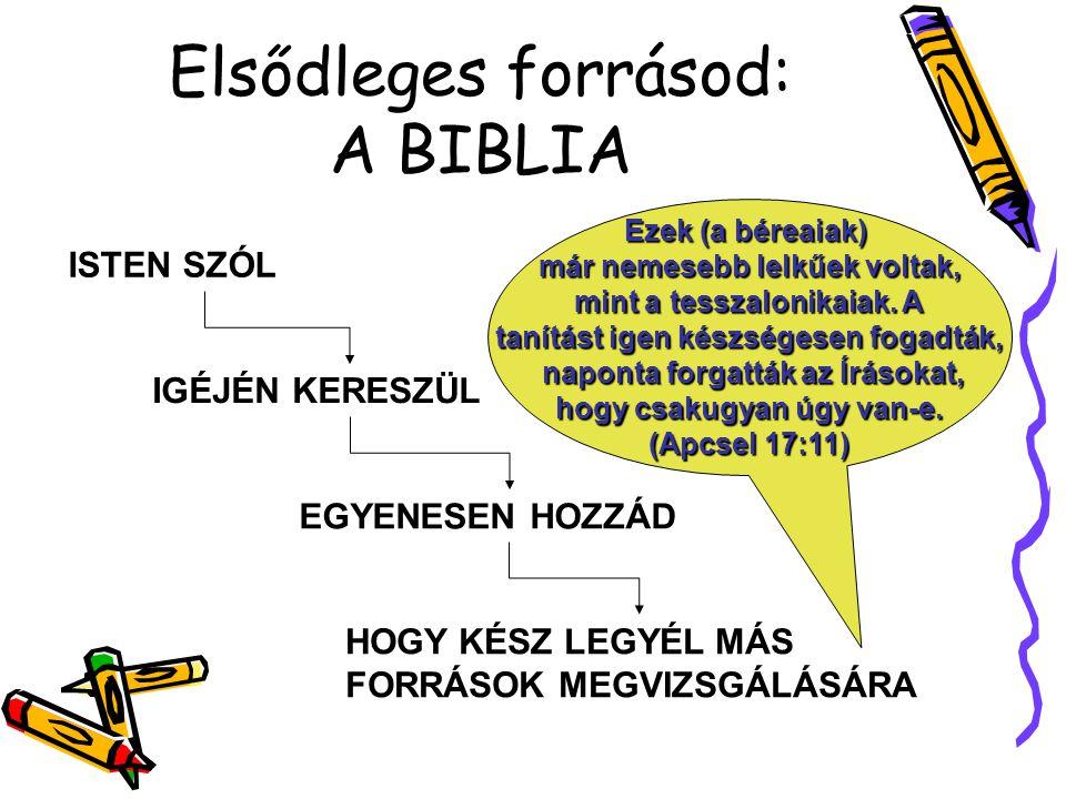 Elsődleges forrásod: A BIBLIA ISTEN SZÓL IGÉJÉN KERESZÜL EGYENESEN HOZZÁD HOGY KÉSZ LEGYÉL MÁS FORRÁSOK MEGVIZSGÁLÁSÁRA Ezek (a béreaiak) már nemesebb lelkűek voltak, mint a tesszalonikaiak.