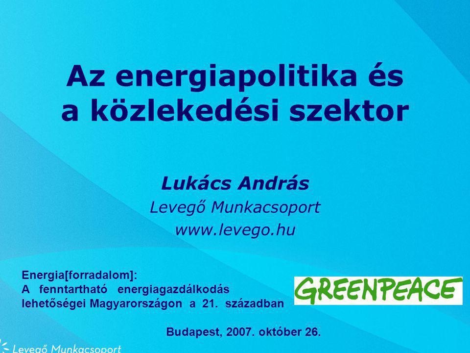 Az energiapolitika és a közlekedési szektor Lukács András Levegő Munkacsoport www.levego.hu Energia[forradalom]: A fenntartható energiagazdálkodás lehetőségei Magyarországon a 21.