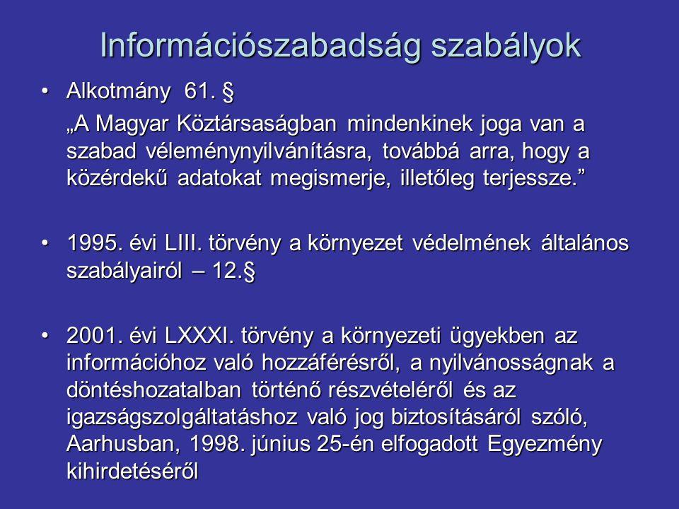 Információszabadság szabályok Alkotmány 61. §Alkotmány 61.