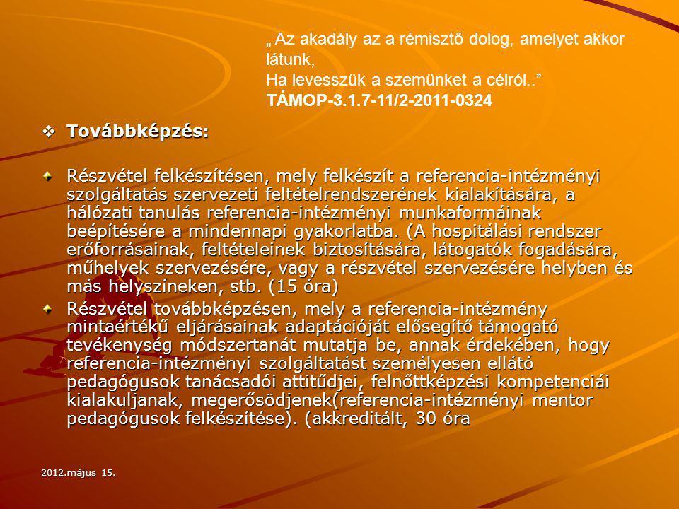 2012.május 15.  Továbbképzés: Részvétel felkészítésen, mely felkészít a referencia-intézményi szolgáltatás szervezeti feltételrendszerének kialakítás