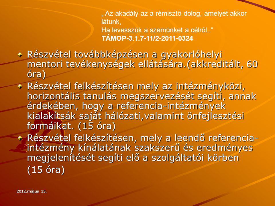 2012.május 15. Részvétel továbbképzésen a gyakorlóhelyi mentori tevékenységek ellátására.(akkreditált, 60 óra) Részvétel felkészítésen mely az intézmé