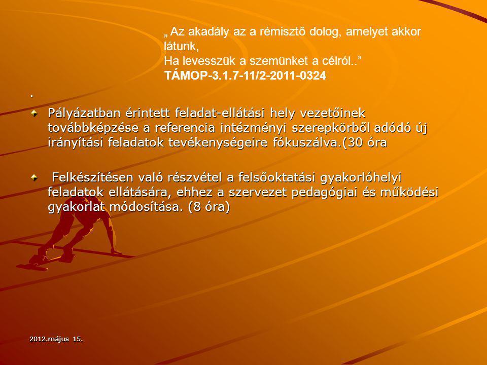 2012.május 15. · Pályázatban érintett feladat-ellátási hely vezetőinek továbbképzése a referencia intézményi szerepkörből adódó új irányítási feladato
