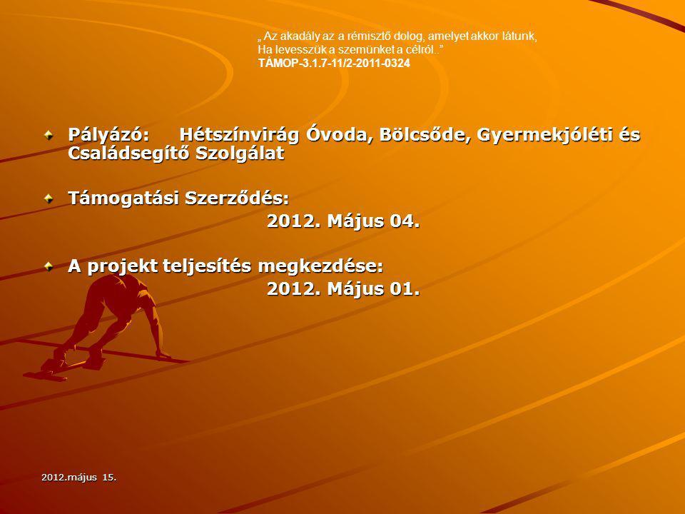 2012.május 15. Pályázó:Hétszínvirág Óvoda, Bölcsőde, Gyermekjóléti és Családsegítő Szolgálat Támogatási Szerződés: 2012. Május 04. A projekt teljesíté