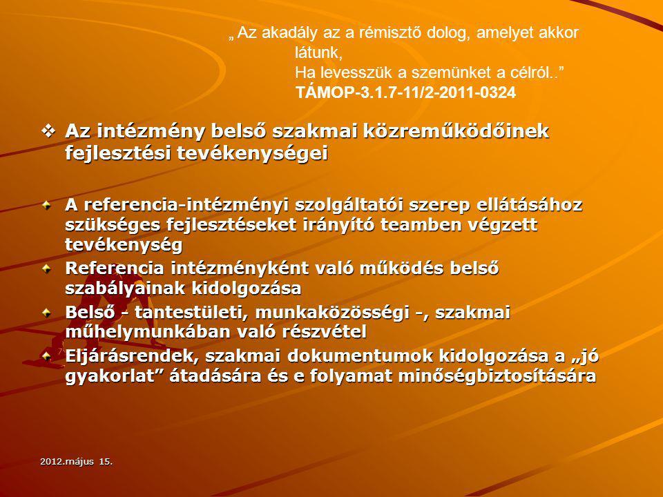 2012.május 15.  Az intézmény belső szakmai közreműködőinek fejlesztési tevékenységei A referencia-intézményi szolgáltatói szerep ellátásához szüksége
