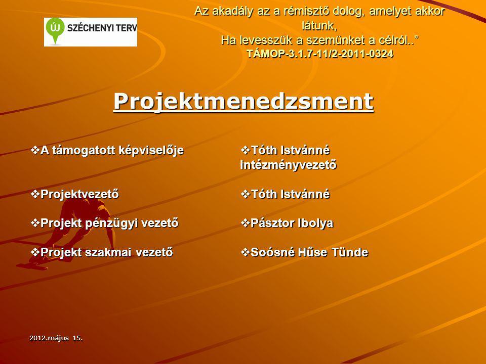 """2012.május 15. Az akadály az a rémisztő dolog, amelyet akkor látunk, Ha levesszük a szemünket a célról.."""" TÁMOP-3.1.7-11/2-2011-0324 Projektmenedzsmen"""