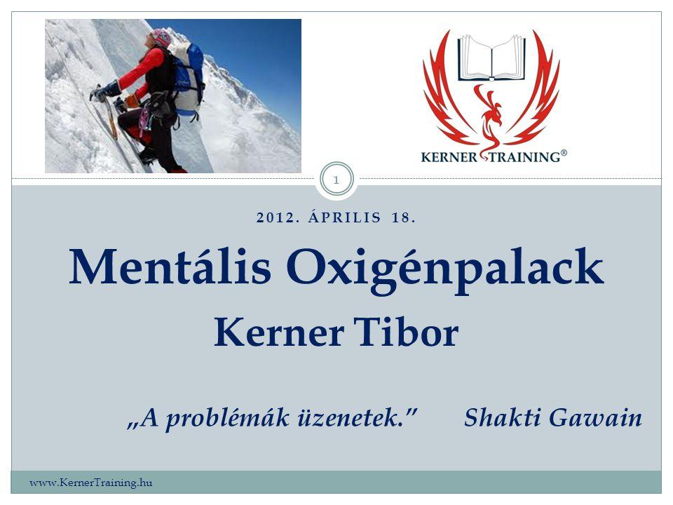 """2012. ÁPRILIS 18. www.KernerTraining.hu 1 Mentális Oxigénpalack Kerner Tibor """"A problémák üzenetek.""""Shakti Gawain"""