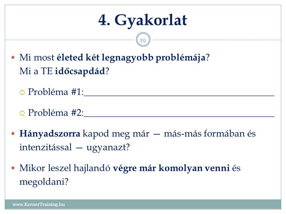 4. Gyakorlat www.KernerTraining.hu 19 Mi most életed két legnagyobb problémája ? Mi a TE időcsapdád ?  Probléma #1:__________________________________