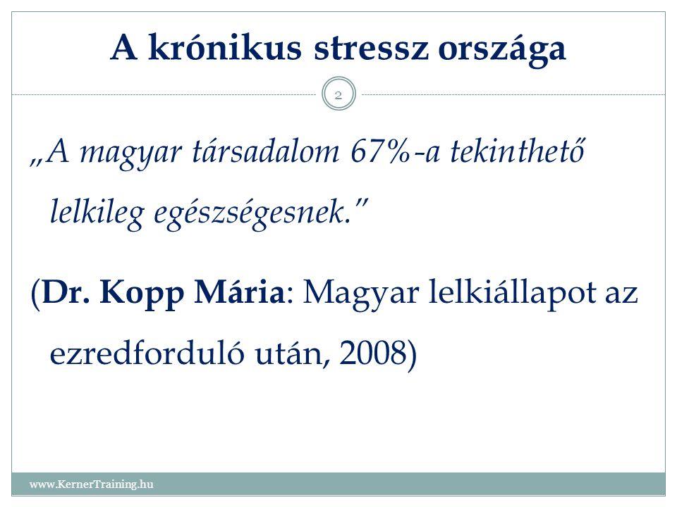 """A krónikus stressz országa www.KernerTraining.hu 2 """"A magyar társadalom 67%-a tekinthető lelkileg egészségesnek."""" ( Dr. Kopp Mária : Magyar lelkiállap"""